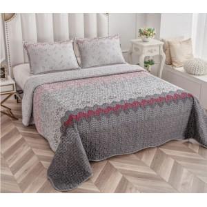 Cuvertură de pat MATLASATĂ cu 2 Fețe Diferite, Pat Dublu, 3 Piese, MODEL CM16