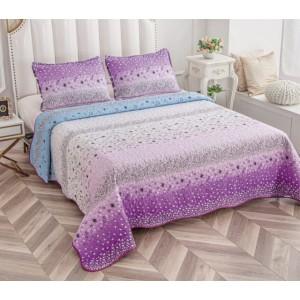 Cuvertură de pat MATLASATĂ cu 2 Fețe Diferite, Pat Dublu, 3 Piese, MODEL CM19