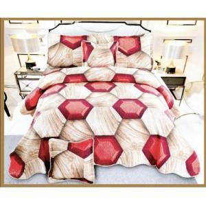 Cuvertura de  pat bumbac 100% 5 piese model imprimat CV5-038