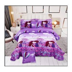 Cuvertura de  pat bumbac 100% 5 piese model imprimat CV5-037